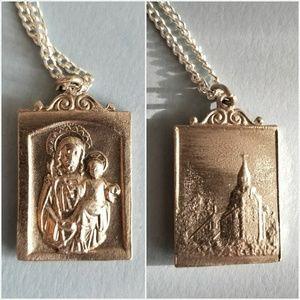 Vintage religious medal necklace silver tone saint